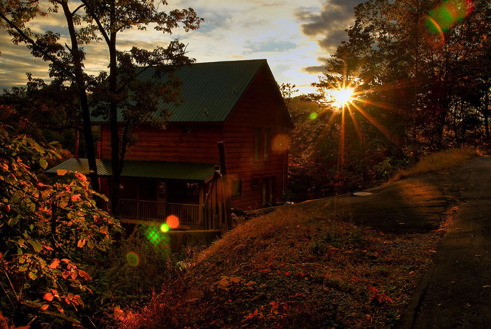 Cabin at Sunset in Smokies