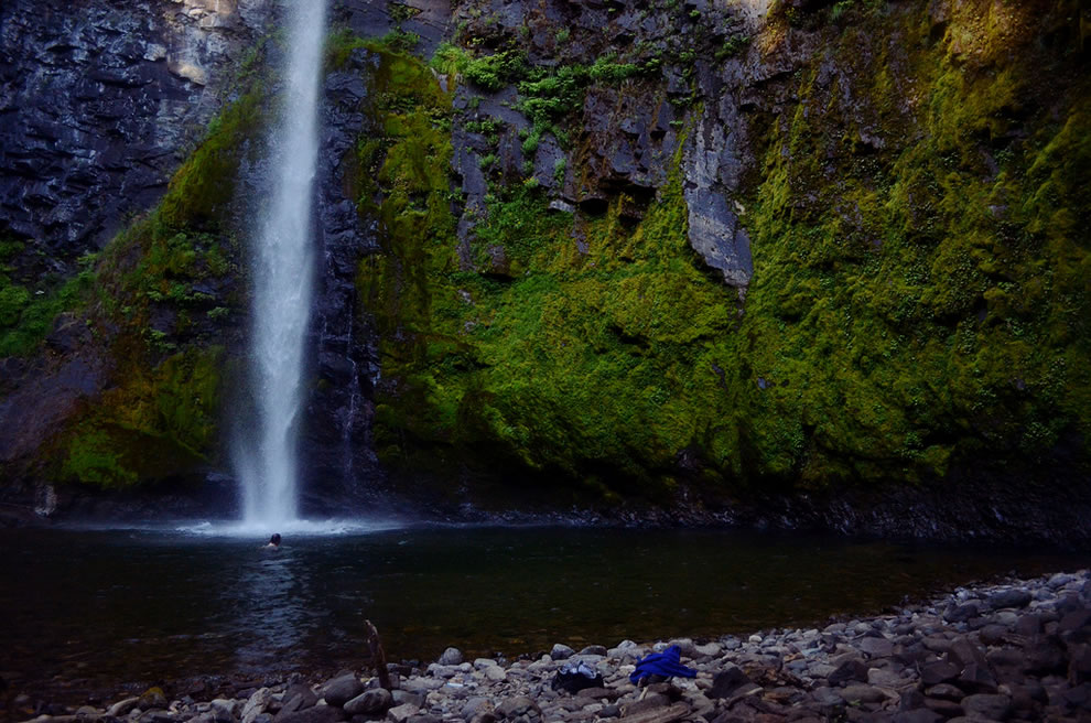 Falls Creek Falls is on the Washington side of the Columbia River Gorge, Gifford Pinchot Forest