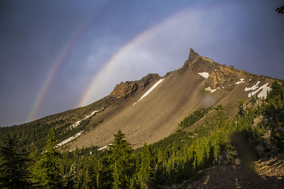 Rainbow over Mount Thielsen, Mount Thielsen Wilderness, part of the Fremont–Winema National Forest