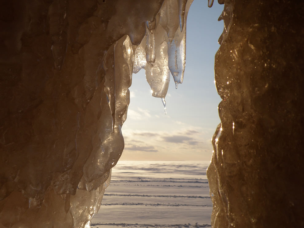 inside an ice cave that is mainland sea cave in winter