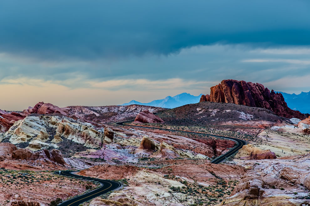 Amazing Rainbow Vista, rainbow of colored rocks at Valley of Fire during sunset