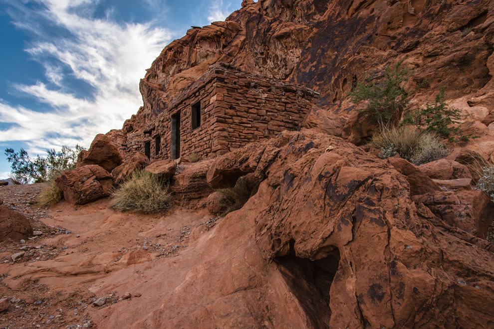 Cabins built during the depression by the Conservation Corps in Valley of Fire State Park in Nevada