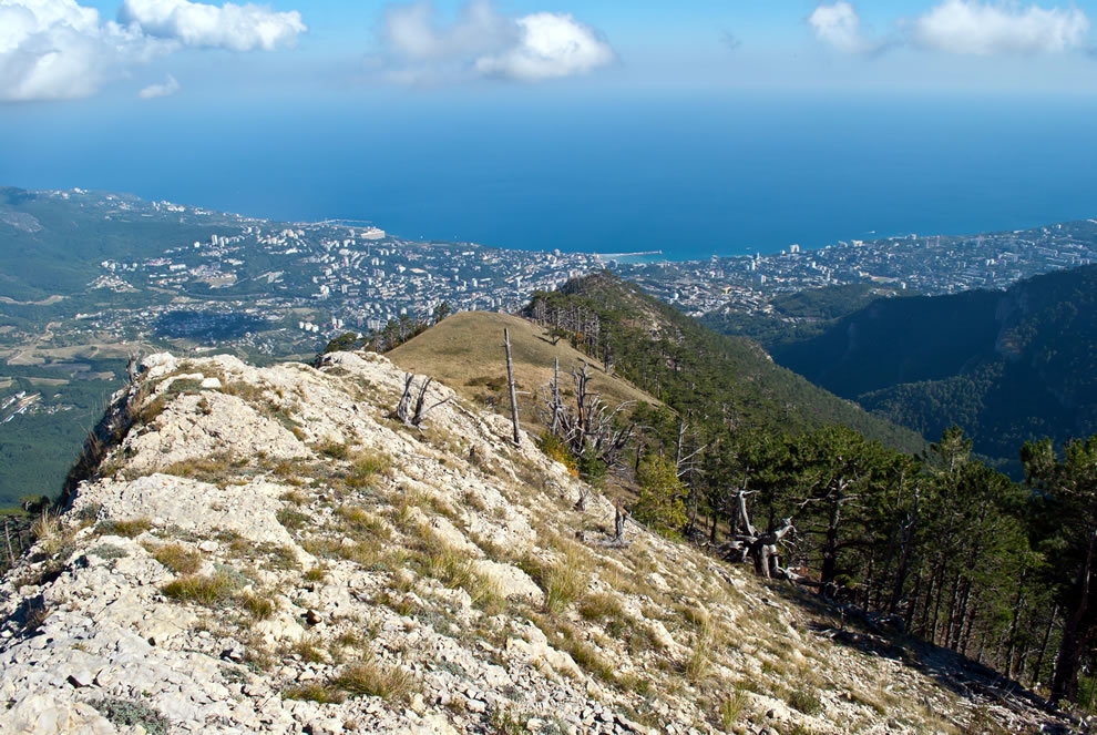 Looking toward Yalta from the ridge Kizil-Kaya, the Yalta mountain nature reserve