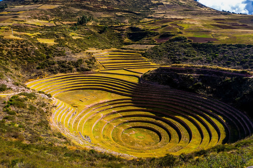 Moray is an archaeological site next to Cusco, Peru