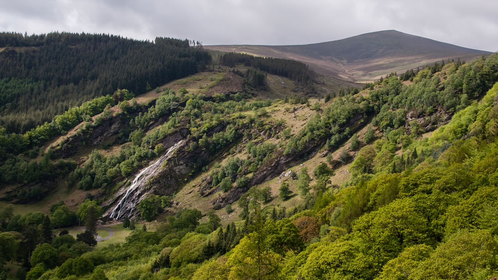 Powerscourt Waterfall, tallest waterfall in Ireland, and Deerpark, part of Wicklow Mountains National Park
