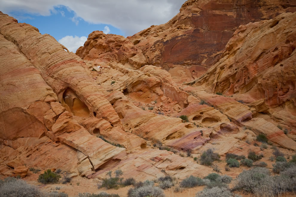 Rocks layered in rainbow of colors at Valley of Fire State Park, Rainbow Vista