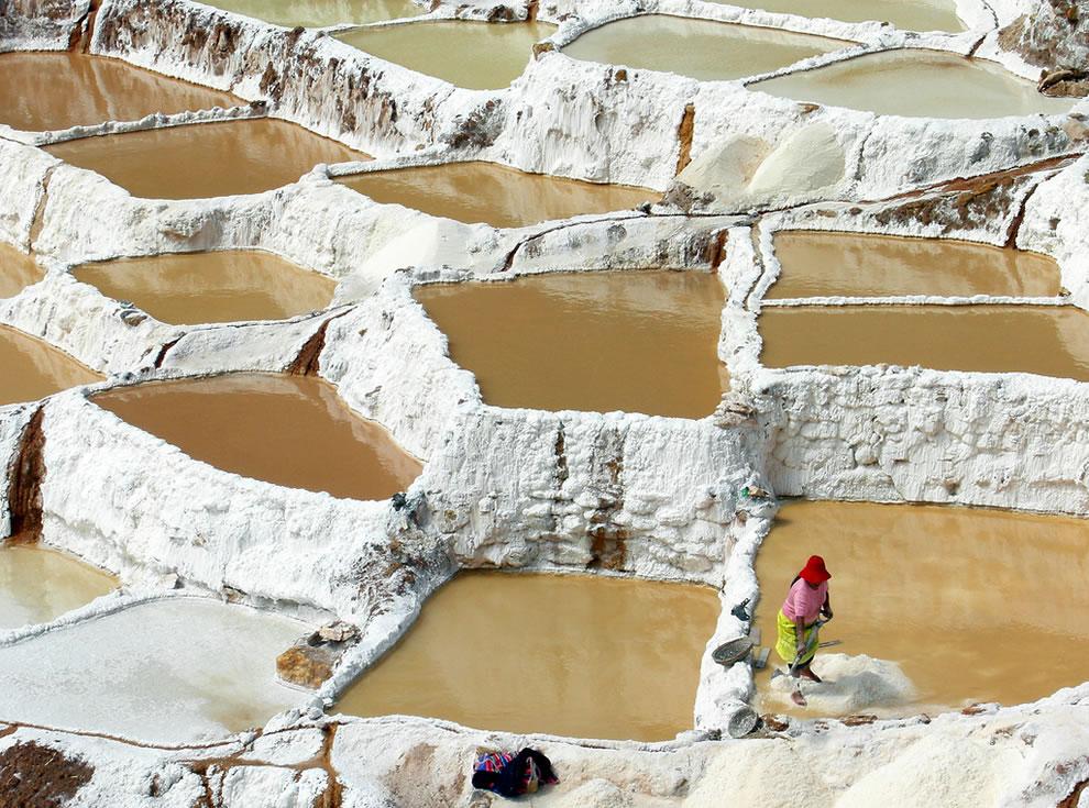 Salt mining, Salinas, Sacred Valley Peru
