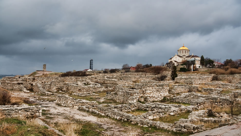 St Vladimir's Cathedral overlooks the extensive excavations and Ruins of Chersonesos, Crimea