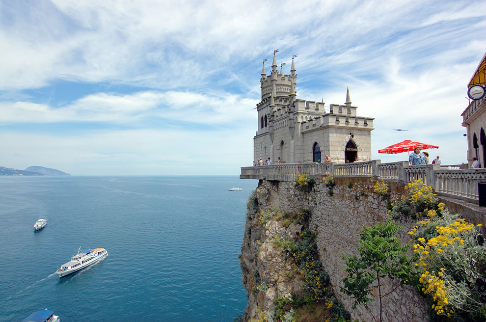 Swallow's Nest castle high on the cliff above the beautiful Black Sea has become an icon for Crimea, Ukraine crisis, Russia