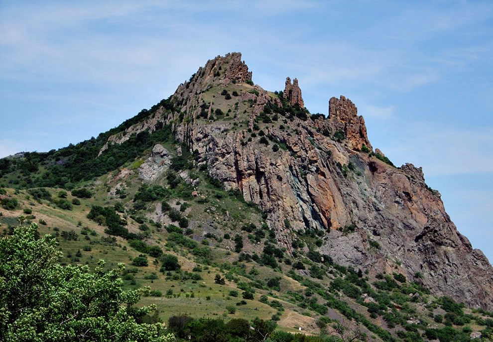 The Kara Dag (Black Mountain) is a volcano on the Black Sea in Crimea