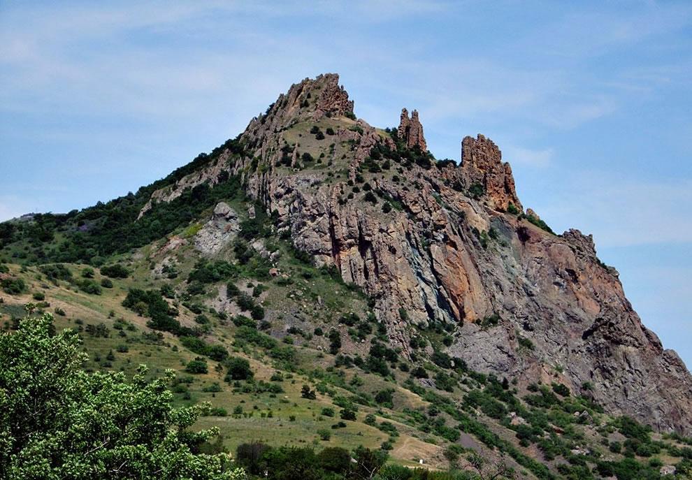 The Kara Dag (Black Mountain) is a volcano on the Black Sea in Crimea
