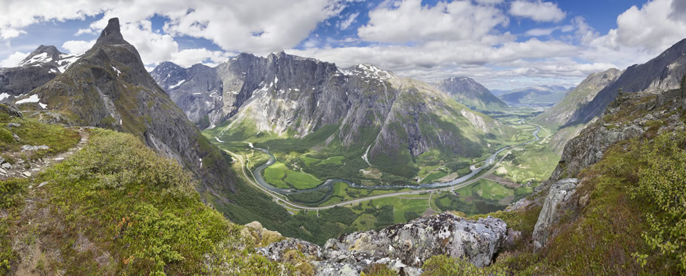 A view to Romsdalen from the Litlefjellet ridge in Norway