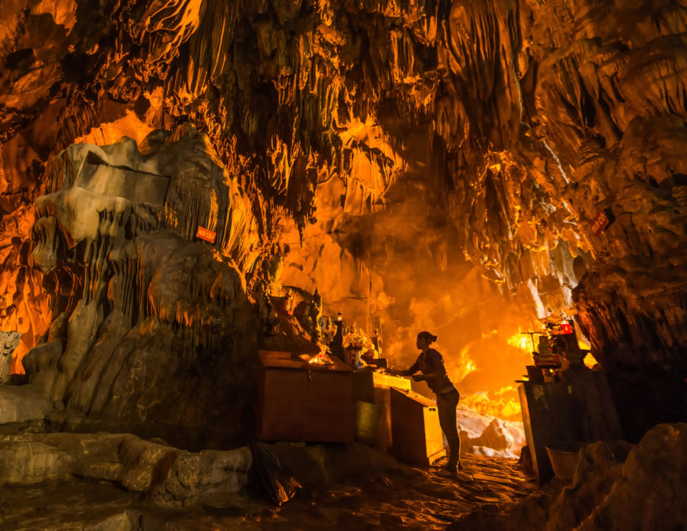 Buddhist Temple inside a cave near Hanoi