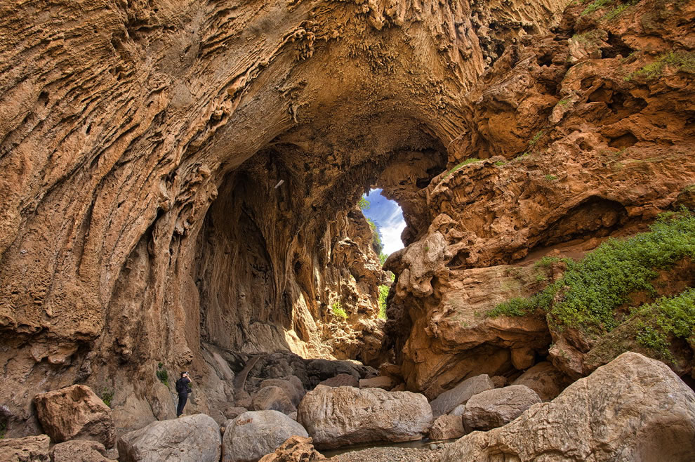 Cave formed by natural bridge in Morocco