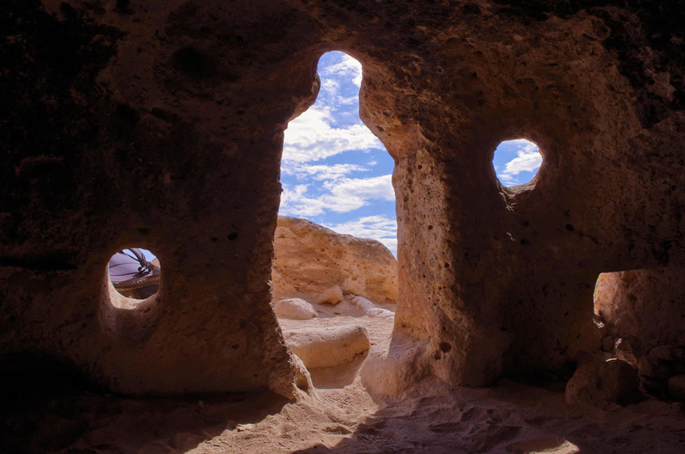 Human-Shaped Entrance to a Cavate Cliff Dwelling in New Mexico