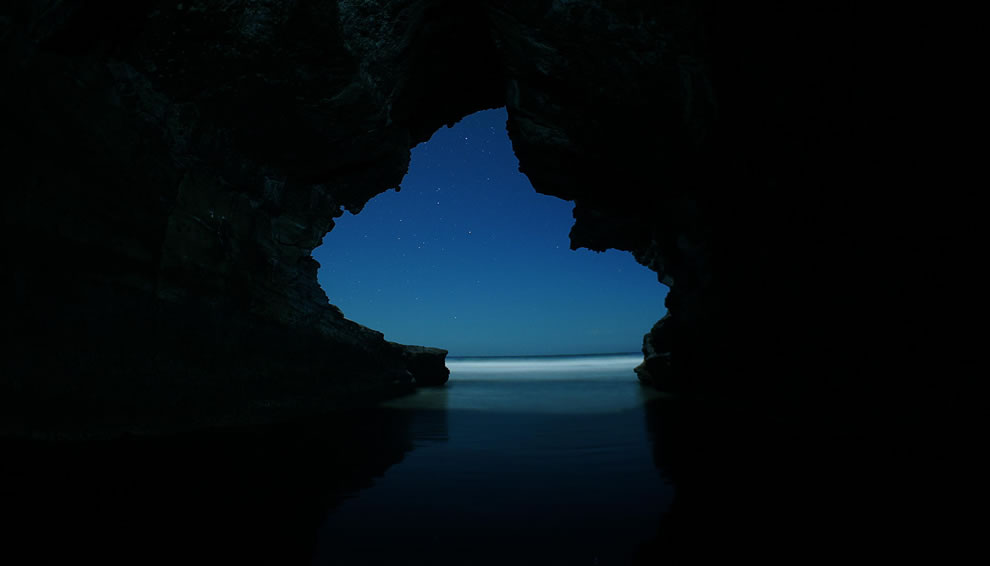 Los Farallones cave at night