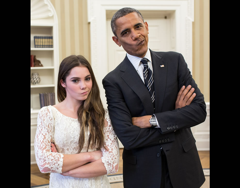 POTUS in Picture of the Year 7th place winner, President Obama with Olympic gymnast in Oval Office