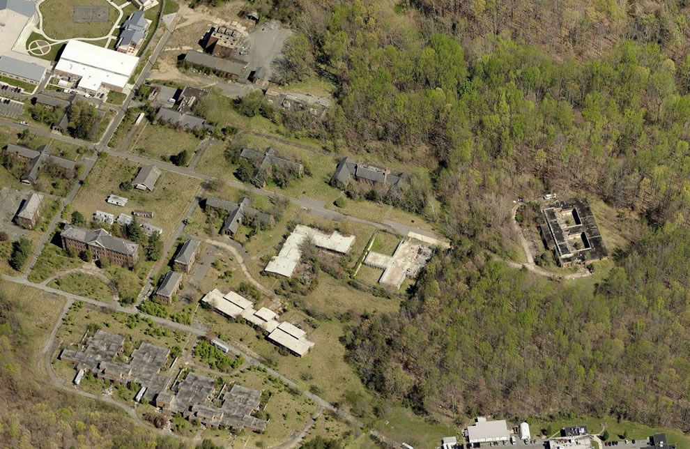 Aerial of abandoned Forest Haven Asylum 39.098765,-76.786328 2nd St Laurel, MD 20724
