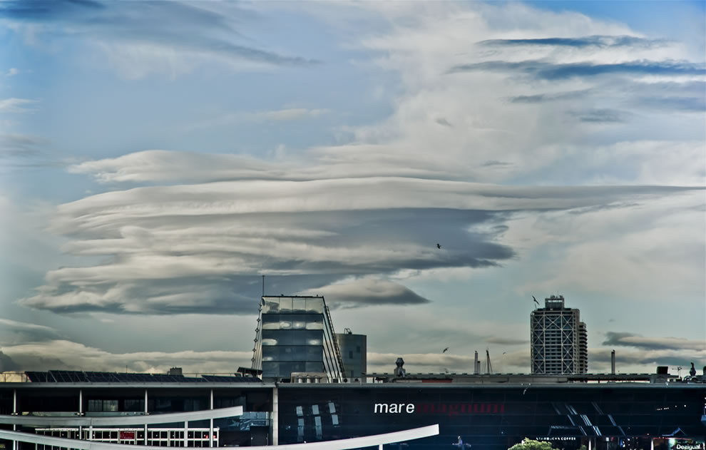 Afternoon lenticular clouds in Barcelona, Spain