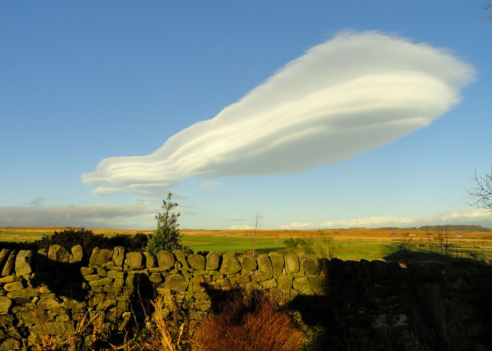 Lenticular cloud over Baildon Moor, Yorkshire, on Winter Solstice