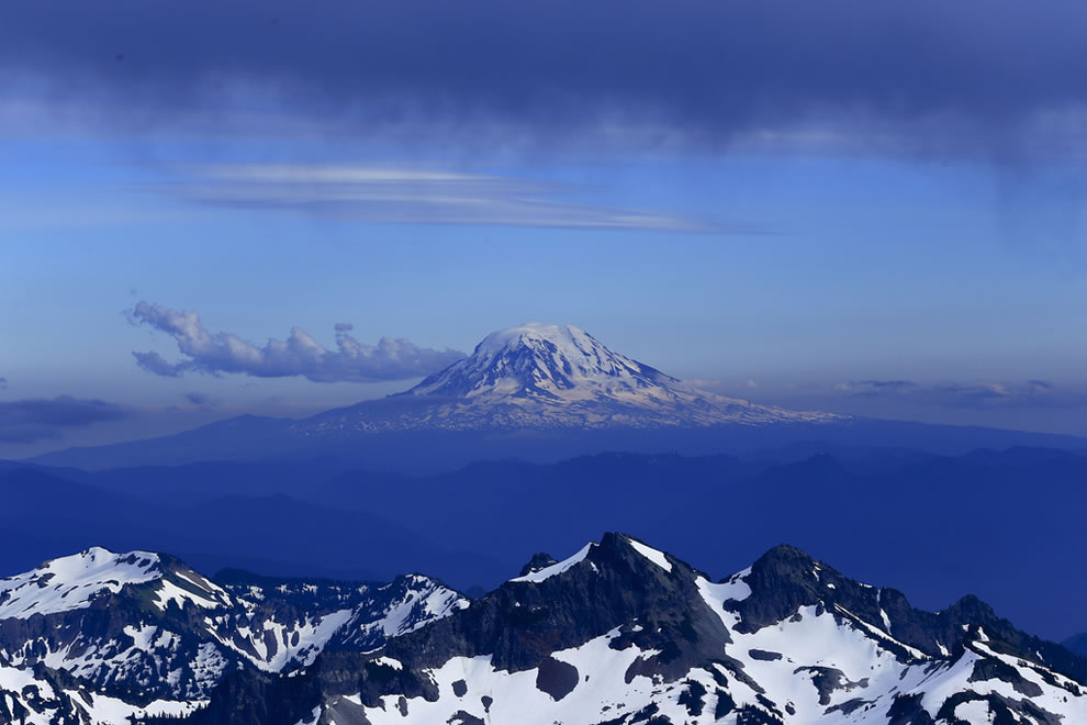 Mt Adams with lenticular cloud hat towering over Tatoosh range