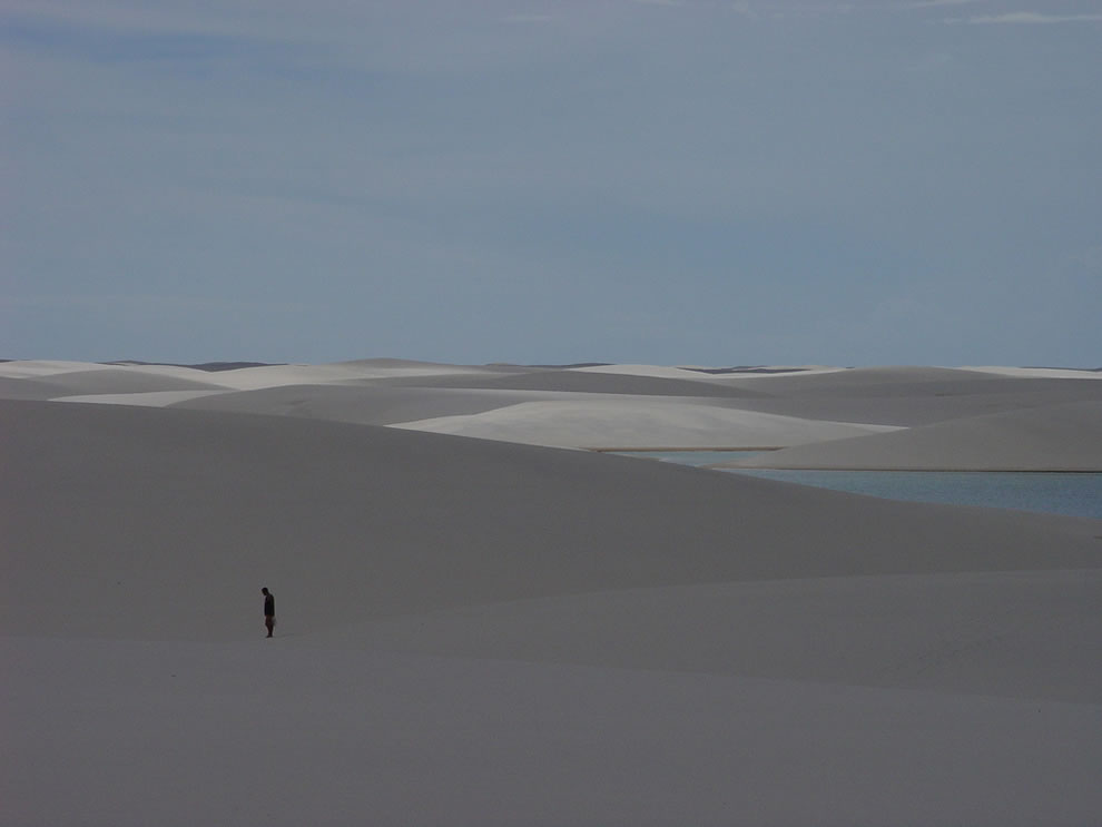 Alone in the desert, looking for oasis at Lencois Maranhenses