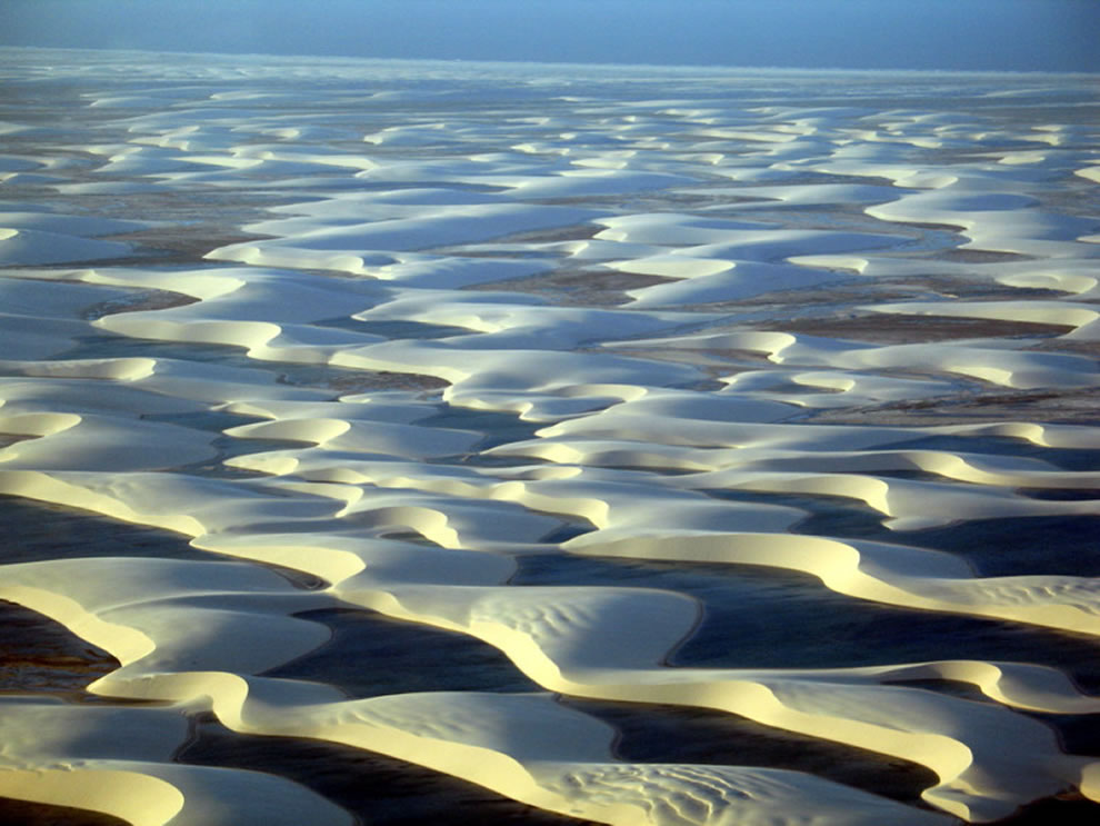Blue, brown or green lagoons in the desert, Lencois Maranhenses National Park