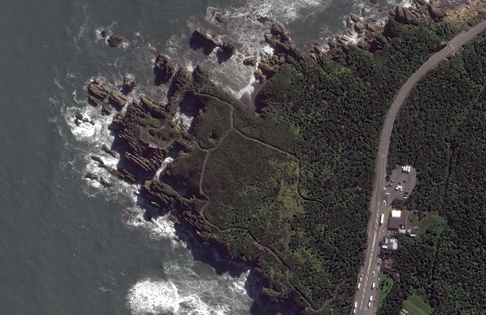 Aerial of Pancake Rocks, Bing Maps