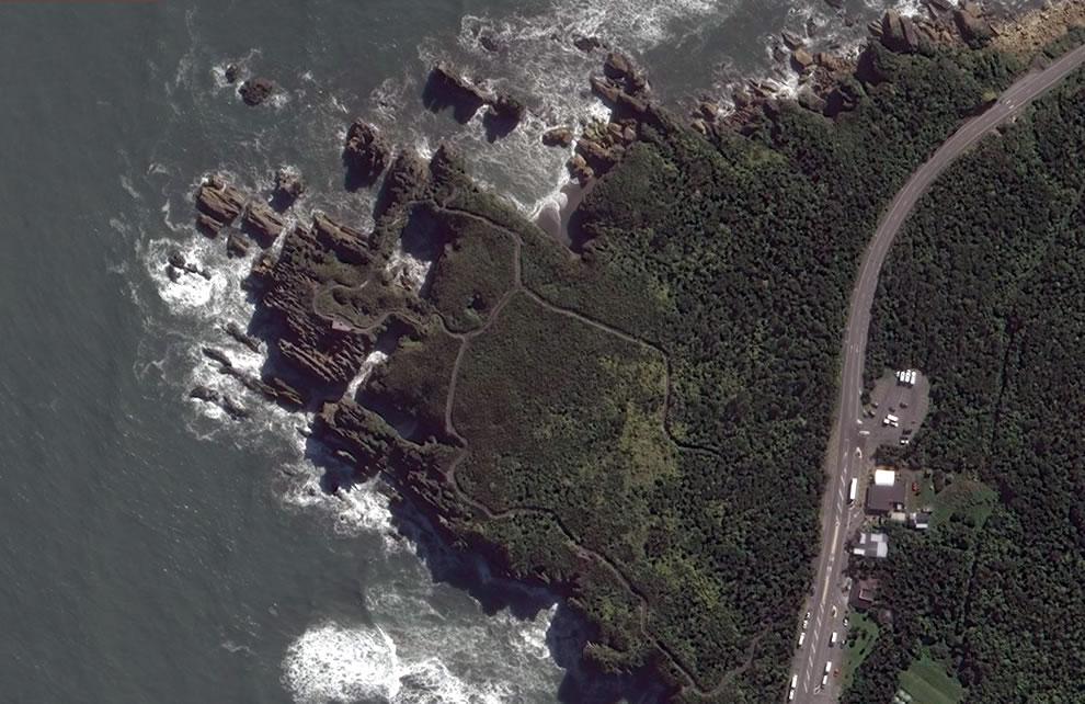 Aerial of Pancake Rocks, Bing Maps