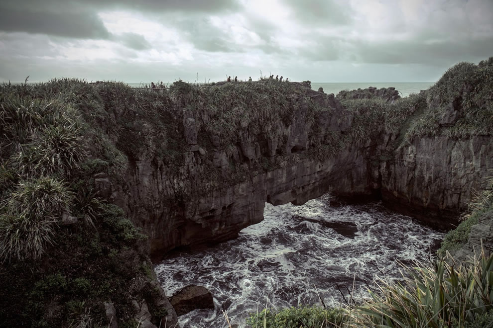 Pancake rocks natural bridge, west coast of New Zealand