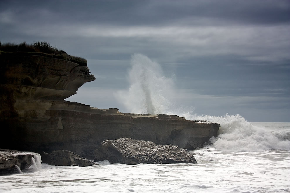 Rough sea fountain near end of Truman Track in Paparoa National Park