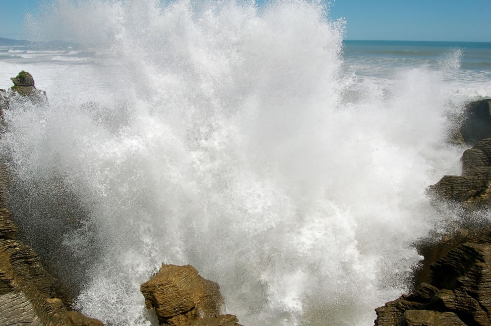 Tasman Sea caused some violent and spectacular bursts of water at the Pancake Rocks, Punakaiki