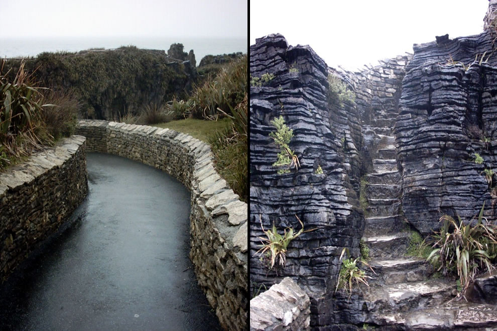 Walkways around the pancake rocks area