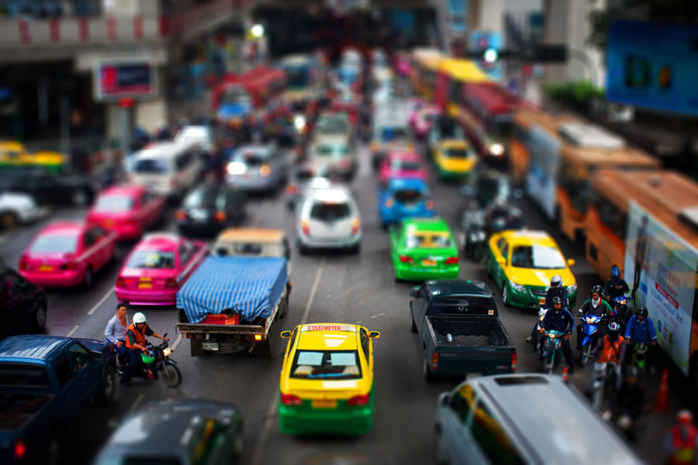 Big miniature world, tilt shift of Siam Square, Bangkok
