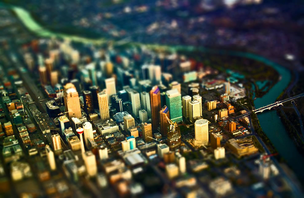 Calgary from Air in Tilt Shift Miniature