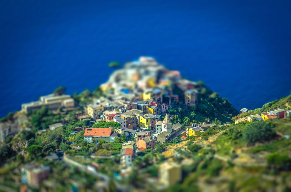 Corniglia in Italy, tilt shift