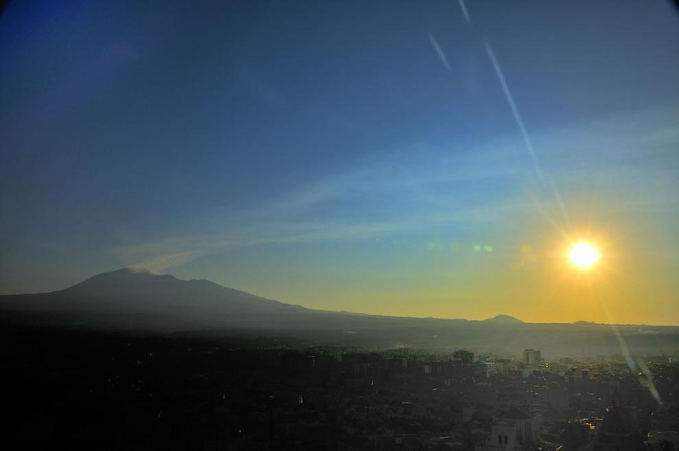 Dawn Mount Etna Volcano Dawn at Paternò Sicilia Italy in July 2010