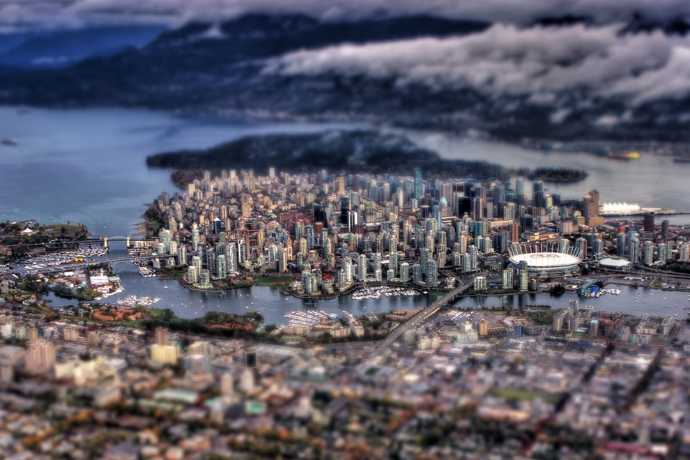 Fake tilt-shift using a real aerial, Canada