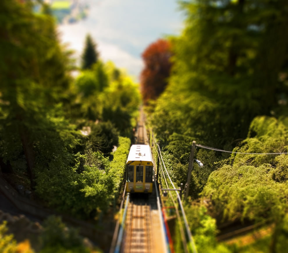 Funicular Como-Brunate, tilt shift of cable car in Spain
