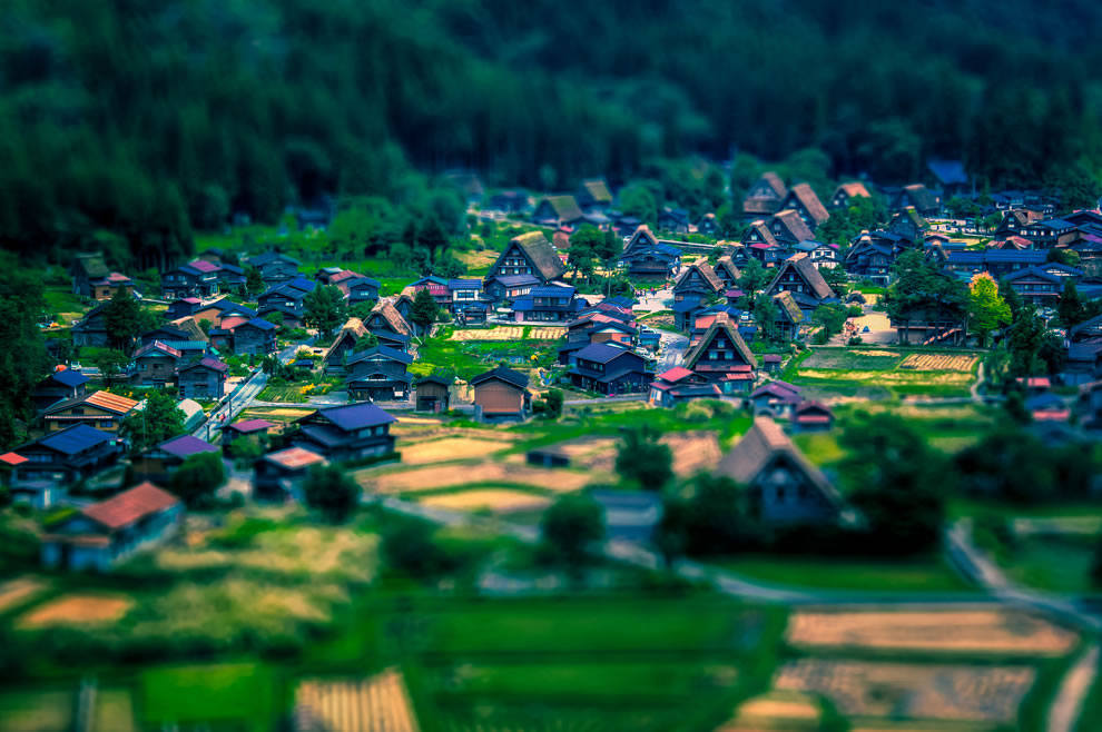 Kinda shifty style, miniature historic village of Shirakawa-gō, a UNESCO World Heritage Site