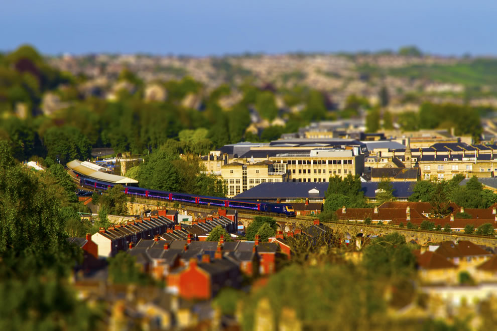 Mini Bath, a tilt-shifted view of Bath from Bathwick Hill