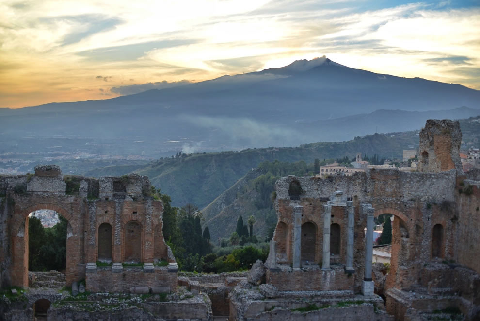 Mount Etna and Greek theater in November 2013