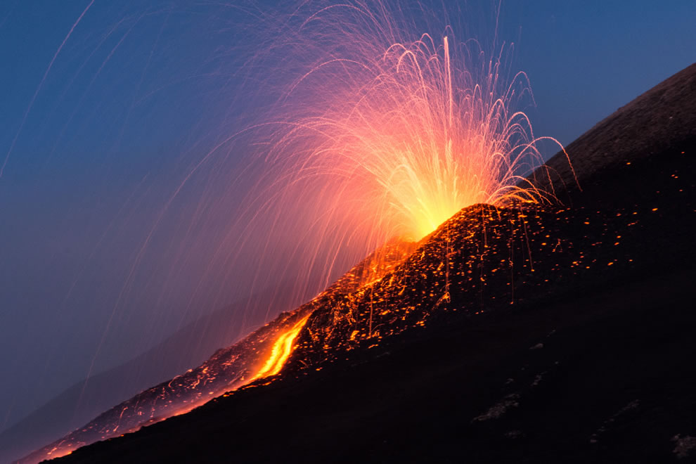 Mount Etna lava fountain, August 2014