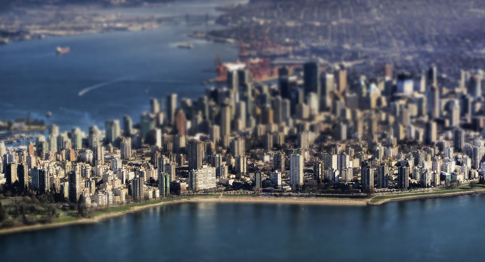 Playin' in the land of the giants, tilt shift Vancouver