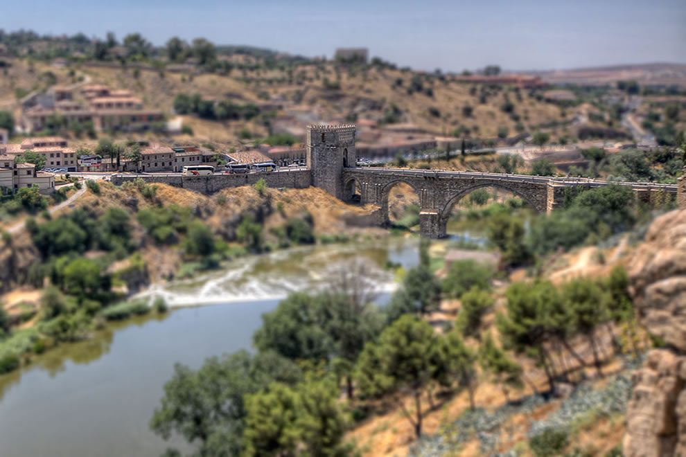 San Martin Bridge in Toledo, Spain, tilt shift style