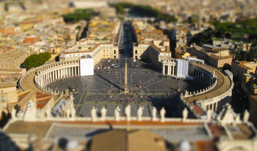 St. Peter's, Vatican City in tilt shift