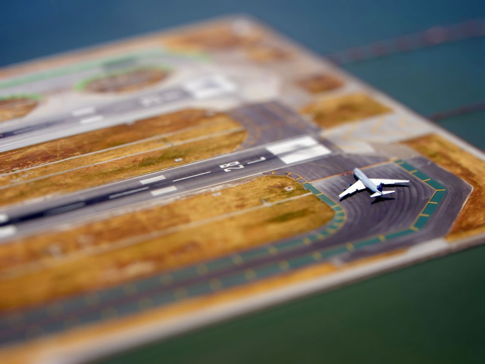 Tilt-Shift Airplane on San Francisco International Airport runway
