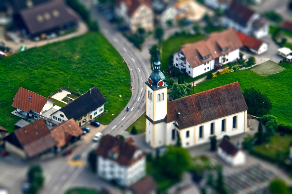Tilt-Shift Church Aerial shot