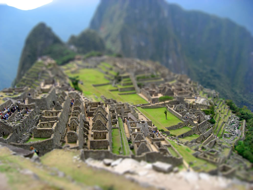 Tilt-shift miniature of Machu Picchu