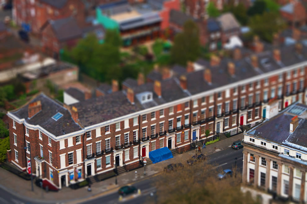 Tilt shift of Chinatown, Liverpool, England